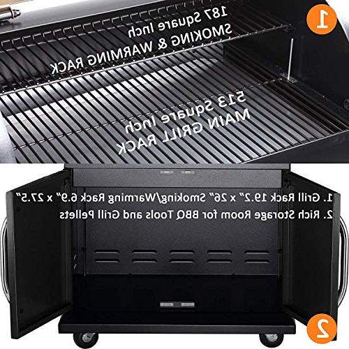 Z GRILLS Wood Outdoor 8 in 1 Smokers/Elite Wood Grill Storage Sliver Black