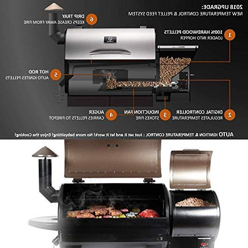 Z GRILLS Wood Pellet Outdoor 8 in Smokers/Elite Grill with Storage Patio, Black