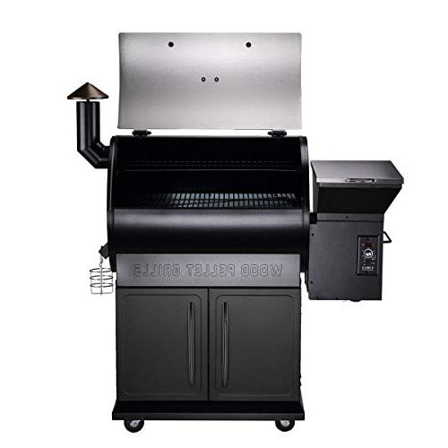 Z 2019 Wood Fired Pellet 8 in 1 Smokers/Elite Pellet with Storage Cabinet, Free Storage and Black