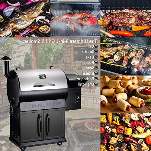 Z GRILLS ZPG-700E 2019 Upgrade Model Wood Pellet Grill & 8 1 BBQ Grill Auto Control, 700 sq inch Cooking Area Silver/Black Cover