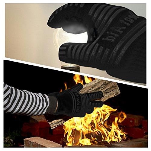 """BBQ Resistant for Baking, Cooking, Barbecue, Indoor/Outdoor Camping – Flexibility Than Oven Mitts, Up to 14"""" Long"""