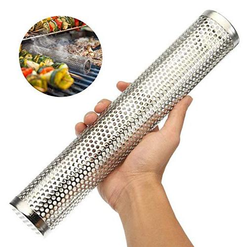 Outdoor Cooking Tools Accessories - Smoker Wood BBQ Smoking Tube Smoke Accessories Silver 6