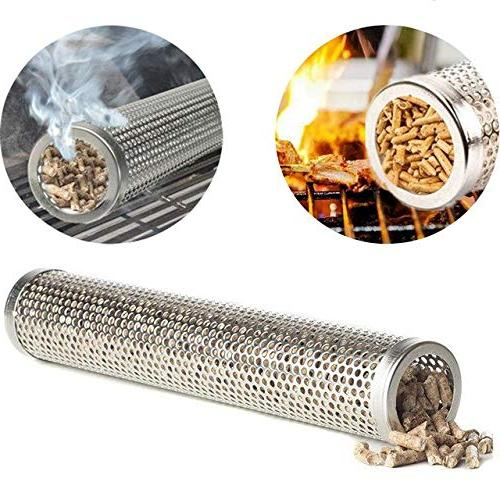 Outdoor Cooking Accessories Steel Smoker Wood BBQ Cold Tube Smoke Generator Accessories Tool Silver 6