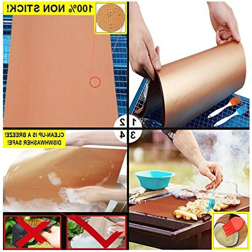 Copper Grill Mat Bake Mat of Grill - Clean Fiber Grill for Grill