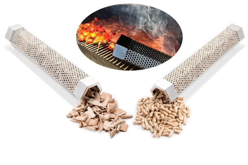 12 BBQ Smoker Wood Pellet Hot Mesh Tube Barbecue Tools