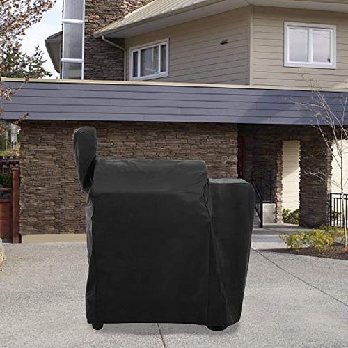 SunPatio Outdoor Heavy 22 Series Grill Smoker Cover, Full Length and Lil' All Weather Protection, Black