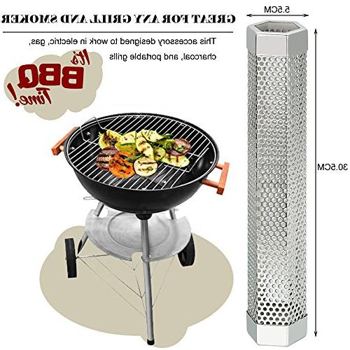 Pellet Smoker Any Grill Hot and Cold Smoking, 5 Smoke, Safe Tasty Stainless Steel