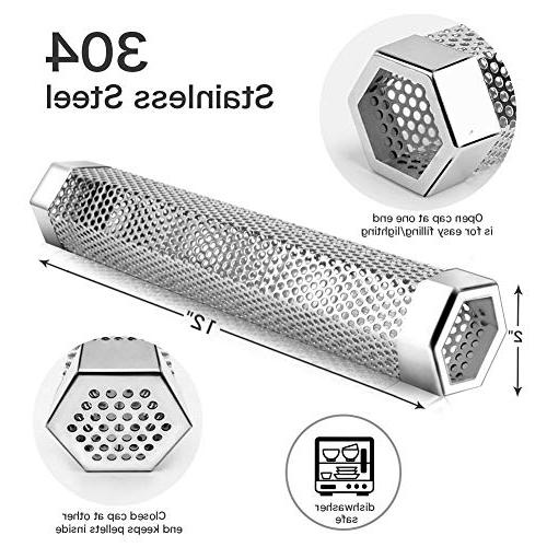 Pellet 12'' Stainless Pellet Cold/Hot Barbecue Smoke Generator Works Electric Gas Grill or Bonus Brush, Hexagon
