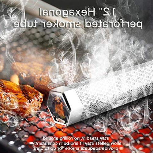 Pellet Tube, Stainless Pellet for Cold/Hot Smoking, Barbecue Smoke Generator Works Electric or Hexagon