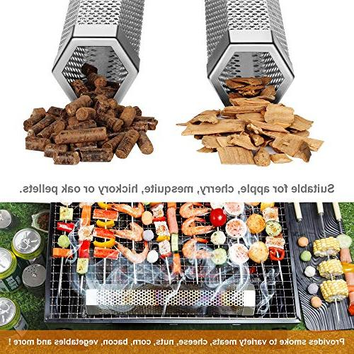 "Premium Smoker for Grill 5 Hours of Smoke Hot Smoking- Smoking Fish - 12"" Steel"