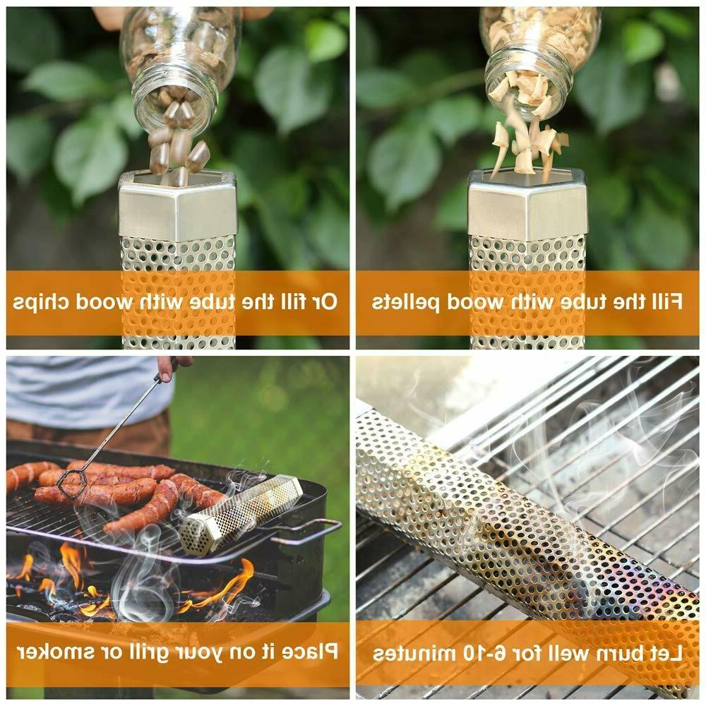 Pellet Tube BBQ Cold Hot Grill 12 Wood
