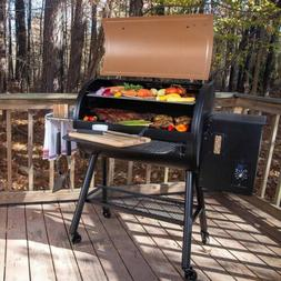 Large Wood Pellet Grill & Smoker Rolling BBQ Electric Igniti